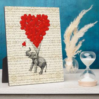Romantic elephant & heart balloons photo plaques
