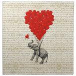 Romantic elephant & heart balloons printed napkin
