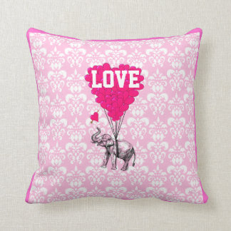 Romantic elephant on pink damask throw pillow