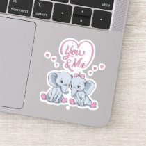 Romantic Elephant You and Me Heart | Valentine Sticker