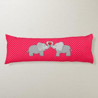 Romantic Elephants & Red Hearts On Polka Dots Body Pillow