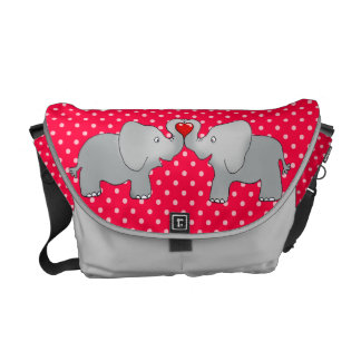Romantic Elephants & Red Hearts On Polka Dots Courier Bag