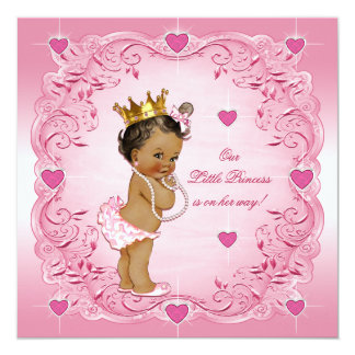 Romantic Ethnic Princess Love Hearts Baby Shower Card