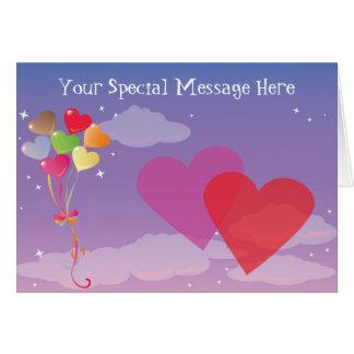 Romantic Evening Hearts & Balloons Card