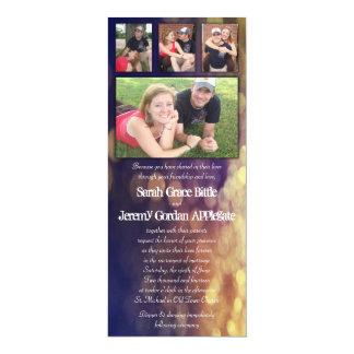"Romantic Evening Photo Collage Wedding Invitation 4"" X 9.25"" Invitation Card"