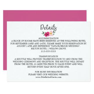 Romantic Fairytale Blossom Bouquet Wedding Details Card