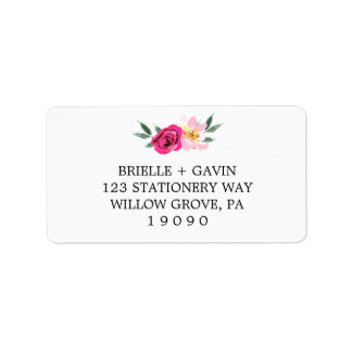 Romantic Fairytale Blossom Bouquet Wedding Label