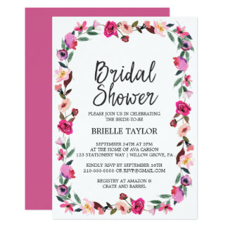 Romantic Fairytale Blossom Wreath Bridal Shower Card