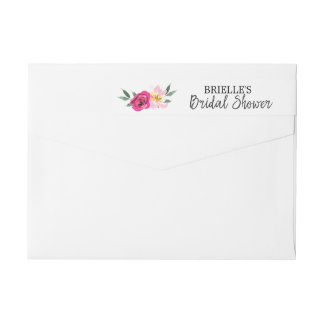 Romantic Fairytale Blossom Wreath Bridal Shower Wrap Around Label