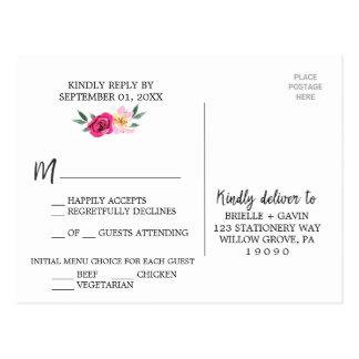 Romantic Fairytale Blossom Wreath Menu Choice RSVP Postcard