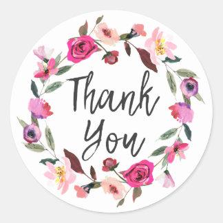 Romantic Fairytale Blossom Wreath Thank You Classic Round Sticker
