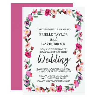 Romantic Fairytale Blossom Wreath Wedding Card