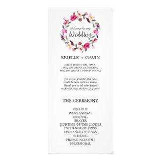 Romantic Fairytale Blossom Wreath Wedding Program