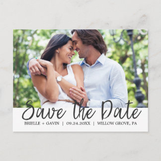 Romantic Fairytale Calligraphy Save the Date Photo Announcement Postcard