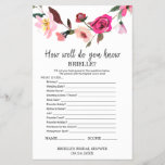 """Romantic Fairytale &quot;Do You Know The Bride&quot; Game<br><div class=""""desc"""">This romantic fairytale &quot;do you know the bride&quot; game is perfect for an english garden theme bridal shower. The front of the game card features &quot;how well do you know the bride&quot;, and the back of the card features &quot;what&#39;s in your purse&quot;. The design features pink, peach and purple watercolor...</div>"""