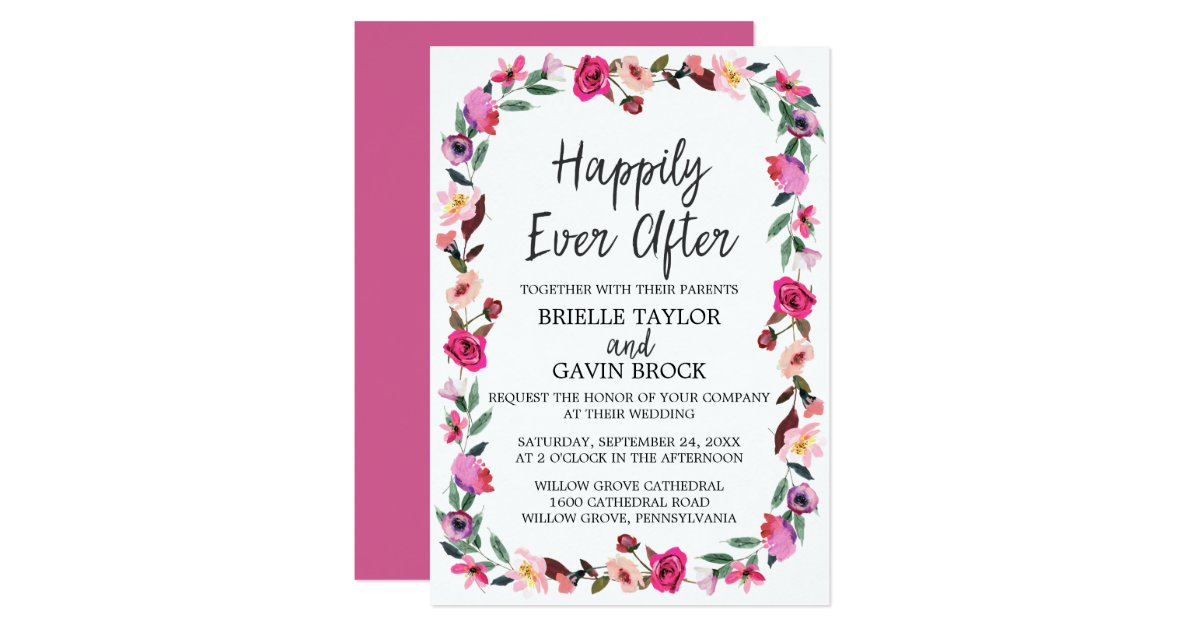 Happily Ever After Wedding Invitations: Romantic Fairytale Happily Ever After Wedding Invitation