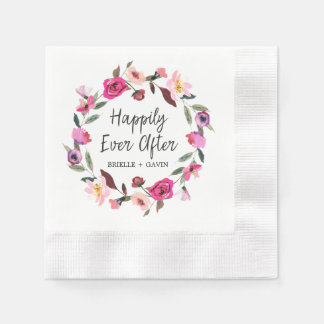 Romantic Fairytale Happily Ever After Wedding Paper Napkin