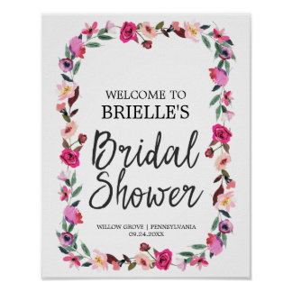 Romantic Fairytale Wreath Bridal Shower Welcome Poster