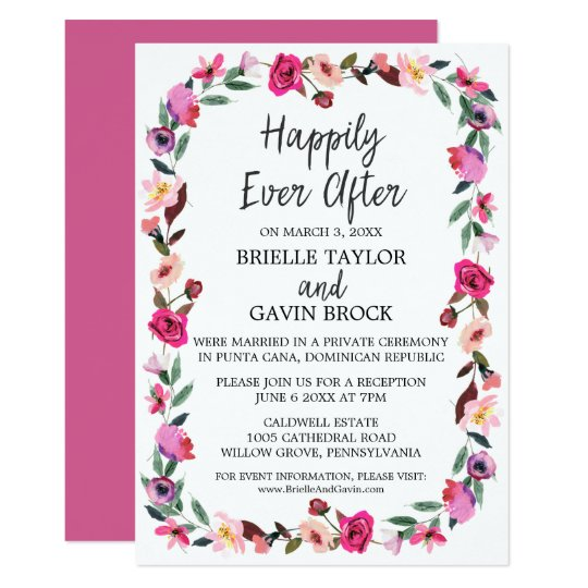 After The Wedding Party Invitations: Romantic Fairytale Wreath Elopement Reception Invitation