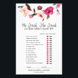 """Romantic Fairytale Wreath &quot;He Said She Said&quot; Game Flyer<br><div class=""""desc"""">This romantic fairytale wreath &quot;he said she said&quot; game is perfect for an english garden theme bridal shower. The front of the game card features &quot;he said she said&quot; which is a fun quiz about the bride and groom. The back of the card features a word find with wedding related...</div>"""