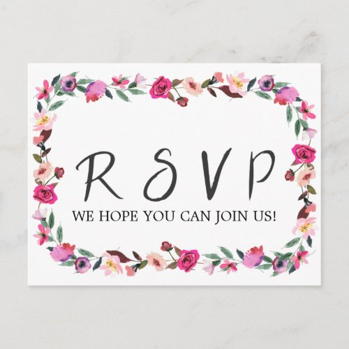 Romantic Fairytale Wreath Song Request RSVP Invitation Postcard