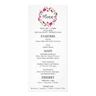 Romantic Fairytale Wreath Wedding Menu Card