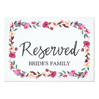 "Romantic Fairytale Wreath Wedding ""Reserved"" Sign Card"