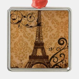 Romantic Fall Autumn damask Paris Eiffel Tower Metal Ornament
