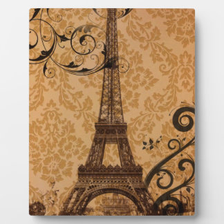 Romantic Fall Autumn damask Paris Eiffel Tower Plaque