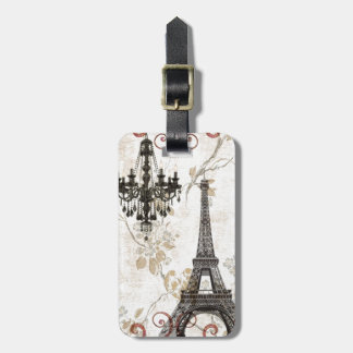 Romantic Fall Autumn Leaves Paris Eiffel Tower Bag Tag