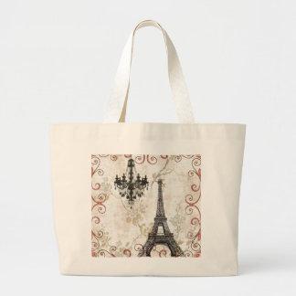 Romantic Fall Autumn Leaves Paris Eiffel Tower Large Tote Bag