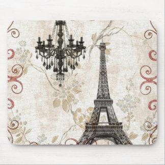 Romantic Fall Autumn Leaves Paris Eiffel Tower Mouse Pad