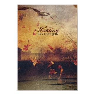 Romantic Fall leaves seagull  autumn wedding Card