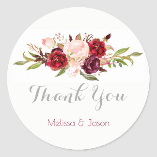 romantic fall wedding watercolor flowers thank you classic round sticker