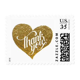 romantic faux gold love heart, thank wedding postage