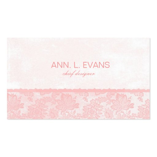 Romantic feminine pink lace business card template for Feminine business cards