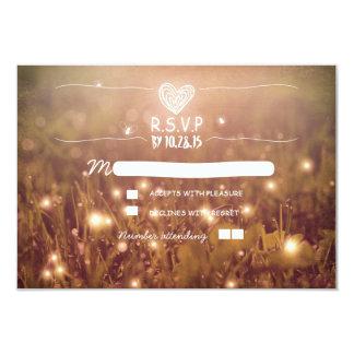 Romantic fireflies lights wedding RSVP Card