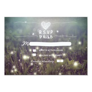 Romantic fireflies lights wedding RSVP 3.5x5 Paper Invitation Card