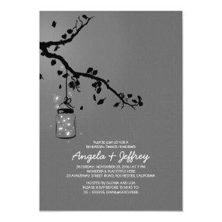 Romantic fireflies mason jar rehearsal dinner 5x7 paper invitation card