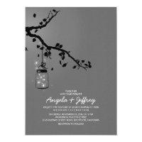 Romantic fireflies mason jar wedding invitation