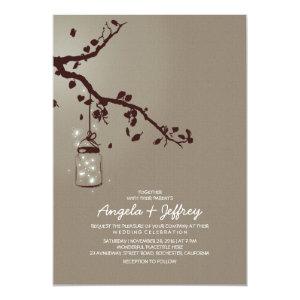 Romantic fireflies mason jar wedding invitation personalized invitations