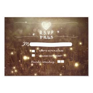 Romantic fireflies rustic lights wedding RSVP 3.5x5 Paper Invitation Card