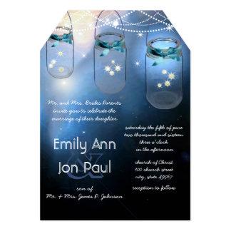 Romantic Firefly Mason Jar Wedding Card