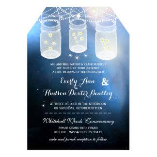 Romantic Firefly Mason Jar Wedding 5x7 Paper Invitation Card