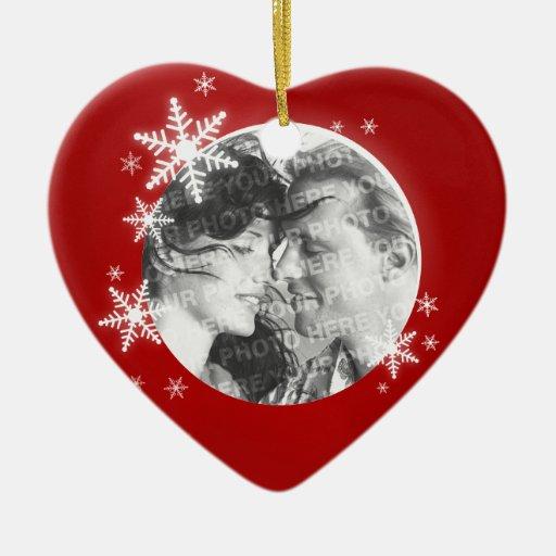 Romantic First Christmas Photo ornament