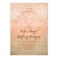 Romantic Flamingo Beach Wedding Invitation