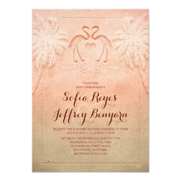 Beach Themed Romantic Flamingo Beach Wedding Invitation