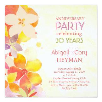 Romantic Floral 30th Wedding Anniversary Party Custom Invitations