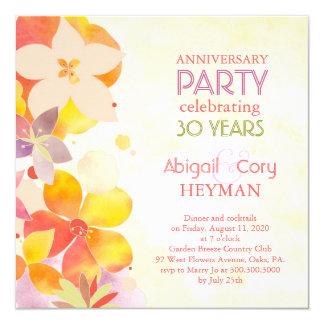 Romantic Floral 30th Wedding Anniversary Party 5.25x5.25 Square Paper Invitation Card