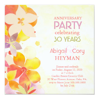 Romantic Floral 30th Wedding Anniversary Party Invitation